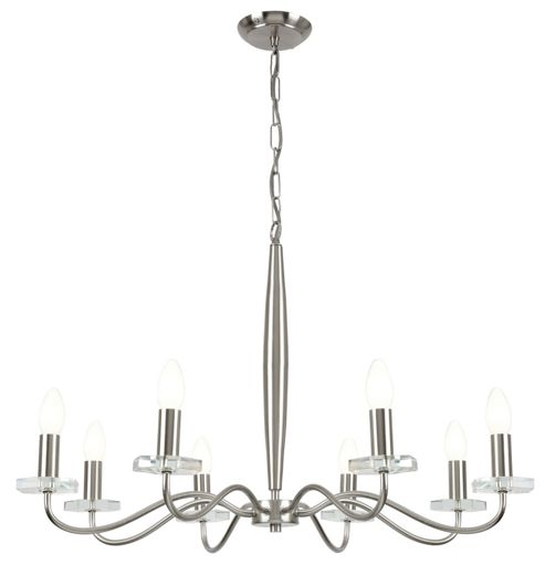 Endon Lighting Eight Light Chandelier in Satin Nickel