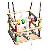 Wooden Baby Swing Seat with Safety Harness and Play Beads