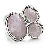 Shimla Ladies Pink Agate 3-Stone Ring - SH-203SM