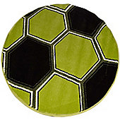 Green Football Glow in The Dark, Circular Rug 100 x 100 cm