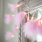 10 LED Pink Fluffy Feather Battery Fairy Lights