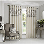 Curtina Rialto Dove Eyelet Lined Curtains - 46x72 Inches