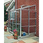 Elite Kensington Lean To Greenhouse – 4 x 8 - Natural Aluminium Finish + Base – Horticultural Glass