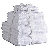 Hotel Egyptian Cotton Ribbed 6 Piece Towel Bale - White