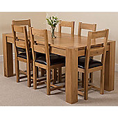 Kuba Chunky Solid Oak 180 cm Dining Table with 6 Lincoln Oak & Leather Chairs