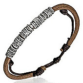 Urban Male Brown Leather Strand Bracelet For A Man With Bead Design