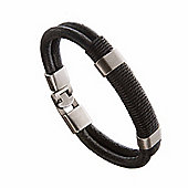Urban Male Genuine Black Leather Double Strand Surfer Style Bracelet