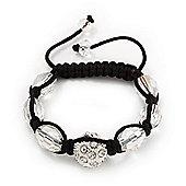 Unisex Swarovski Clear Crystal Balls Shamballa Bracelet - 13mm - Adjustable