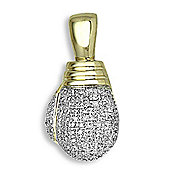 Jewelco London 9 Carat Yellow Gold 50pts Diamond Boxing Glove Pendant
