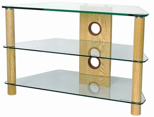 Corner TV Stand with Clear Glass and Light Wood Legs