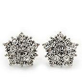 Clear Crystal 'Star' Stud Earrings In Rhodium Plating - 15mm Diameter