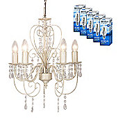 Lille Five Way LED Ceiling Light in Distressed White