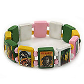 "Multicoloured Bob Marley ""One Love"" Wooden Stretch Bracelet - up to 20cm length"