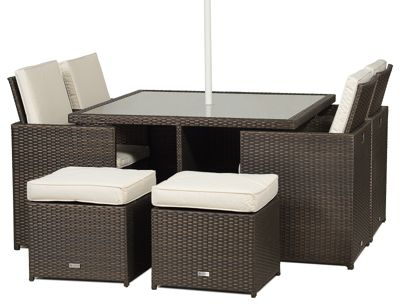 Outdoor Oak Furniture King Giardino Small Glass Dining Table Cube Set with  4 Highback Chairs including Parasol Rattan Garden Furniture Set. garden furniture   Shopping Deals   Price Comparison