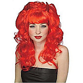 Rubies Fancy Dress - Fabulous Devil Wig with Horns - Red