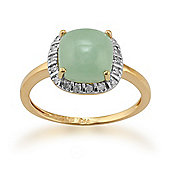 Gemondo Gold Plated Sterling Silver 3.0ct Jade & 9pt Diamond Square Cluster Ring
