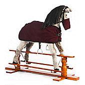 Rocking Horse Misty With Burgundy Rug and Nose Bag