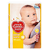 Tesco Loves Baby Newborn - Mini - Size 2 Nappies - 58 Pack