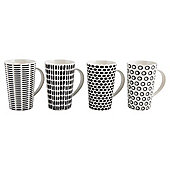Tesco Black and White Geo Print Latte Mugs 4 pack
