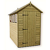 6ft x 4ft Premier Pressure Treated T&G Apex Shed + 3 Windows + Higher Eaves & Ridge Height + Single Door