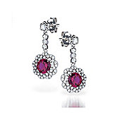 The REAL Effect Rhodium Coated Sterling Silver Ruby-Red-Colour Cubic Zirconia Drop Earrings