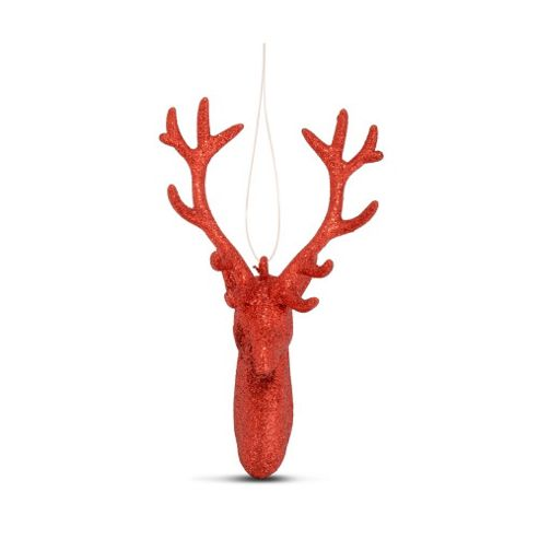 Hanging Red Glitter Reindeer Head Christmas Decoration