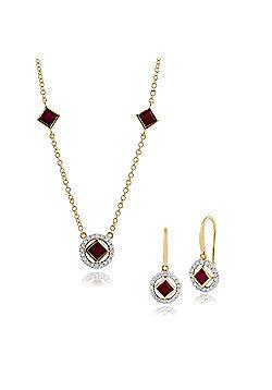 Gemondo 9ct Yellow Gold Ruby & Diamond Drop Earring & 45cm Necklace Set