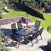 Capri Black Aluminium Rectangular Dining Set
