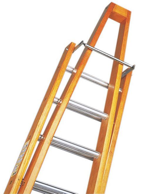 Trade 3m (9.84ft) Timber Double Window Cleaning Ladder (Alloy Tread)