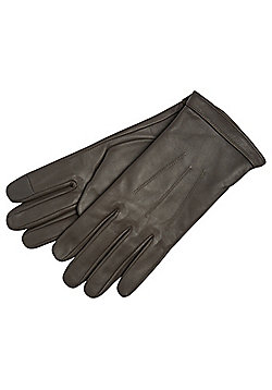 F&F Leather Touch Screen Gloves - Grey