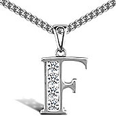 Jewelco London Sterling Silver Cubic Zirconia Identity Pendant - Initial F - 18inch Chain