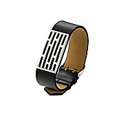 Mens Fred Bennett Steel and Black Leather Look Bracelet