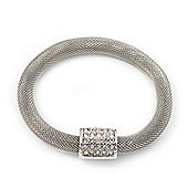 Unique Mesh Diamante Magnetic Bracelet In Silver Finish - 18cm Length