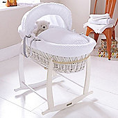 Clair de Lune White Wicker Moses Basket (Honeycomb White)