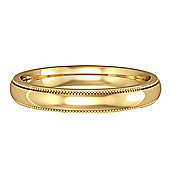 Jewelco London 9ct Yellow Gold - 3mm Essential Court-Shaped Mill Grain Edge Band Commitment / Wedding Ring - Size M 1/2