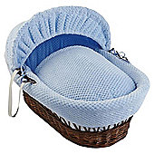 Clair De Lune Honeycomb Dark Wicker Moses Basket, Blue
