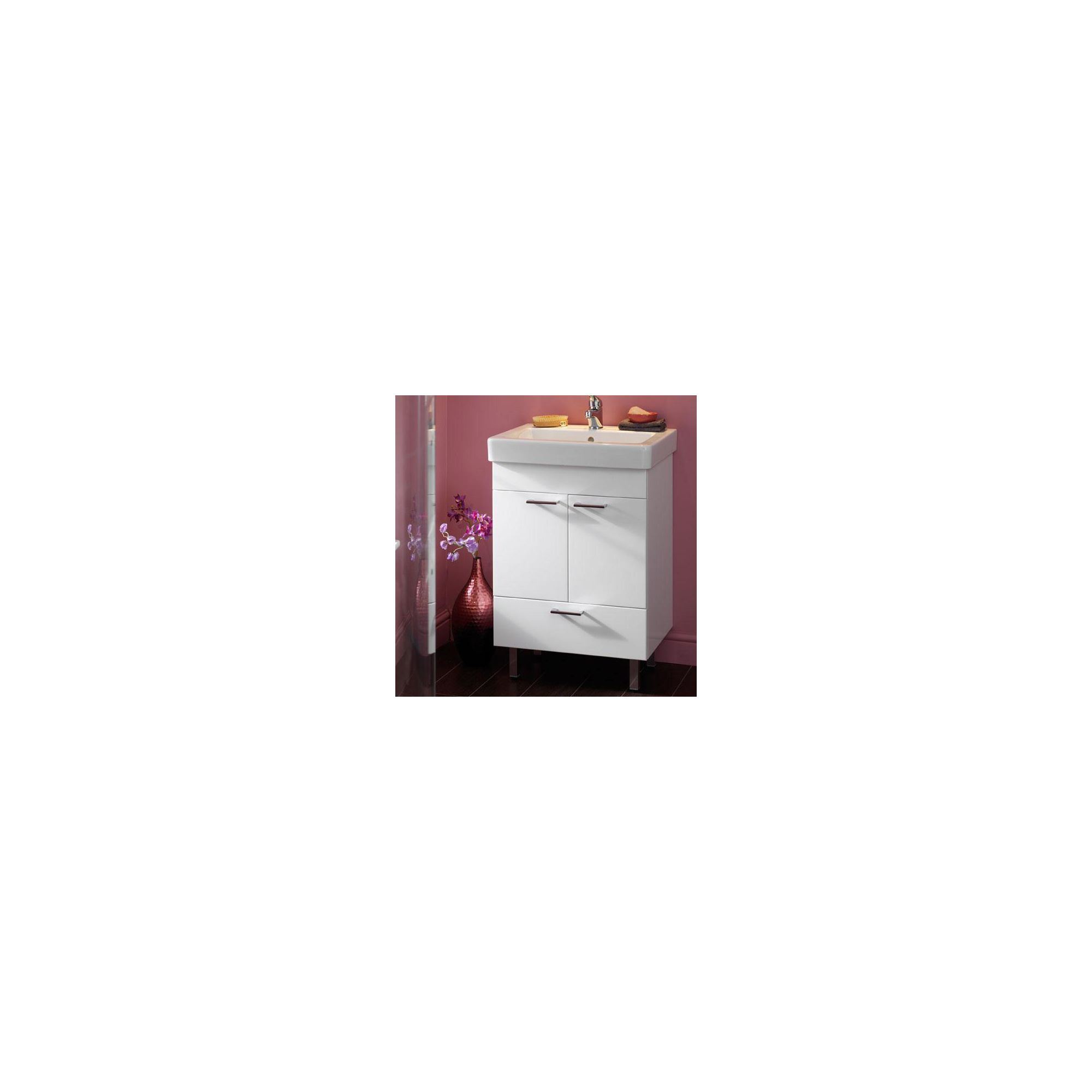 Duchy Trerise White Floor Standing 2 Door 1 Drawer Vanity Unit and Basin - 600mm Wide x 445mm Deep