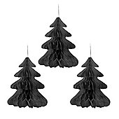 Set of Three Black Paper Honeycomb Christmas Tree Hanging Decorations