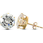 Jewelco London 9ct Yellow Gold studs claw-set with 10mm Solitaire CZ stone