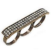 Vintage Pave-Set 'Plate' Three Finger Ring In Burn Gold Metal - Adjustable - 60mm Width