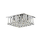 Modern Square Chrome Flush Ceiling Light with Crystal Glass Spheres