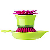 Flower Power Geranium Palm Dish Brush With Holder
