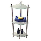 Techstyle Three Tier Glass Bathroom Corner Storage Shelves