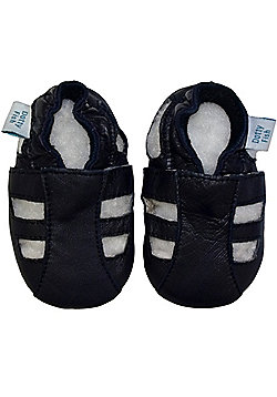 Dotty Fish Soft Leather Baby Sandal - Navy - Navy