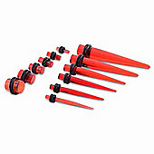 Urban Male Twelve Piece 3mm to 10mm Complete Acrylic Stretching Pack in red