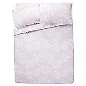 Tesco Skeleton Leaf Duvet Cover And Pillowcase Set Pink, Single