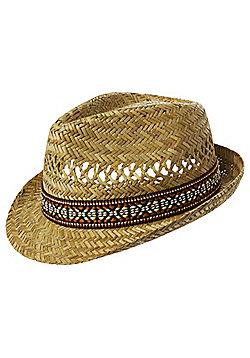 F&F Aztec Band Straw Trilby - Beige