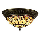 Arcade 19cm x 38cm Tiffany Two Light Ceiling Light with Ring