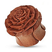 Urban Male Brown Organic Wooden Rose Flesh Plug Hand Carved & Double Flared 14mm