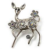 Silver Tone Diamante Baby Reindeer Brooch